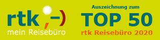 Banner Auszeichnung RTK Top50-Büro 2020, Reisebüro Oberfell